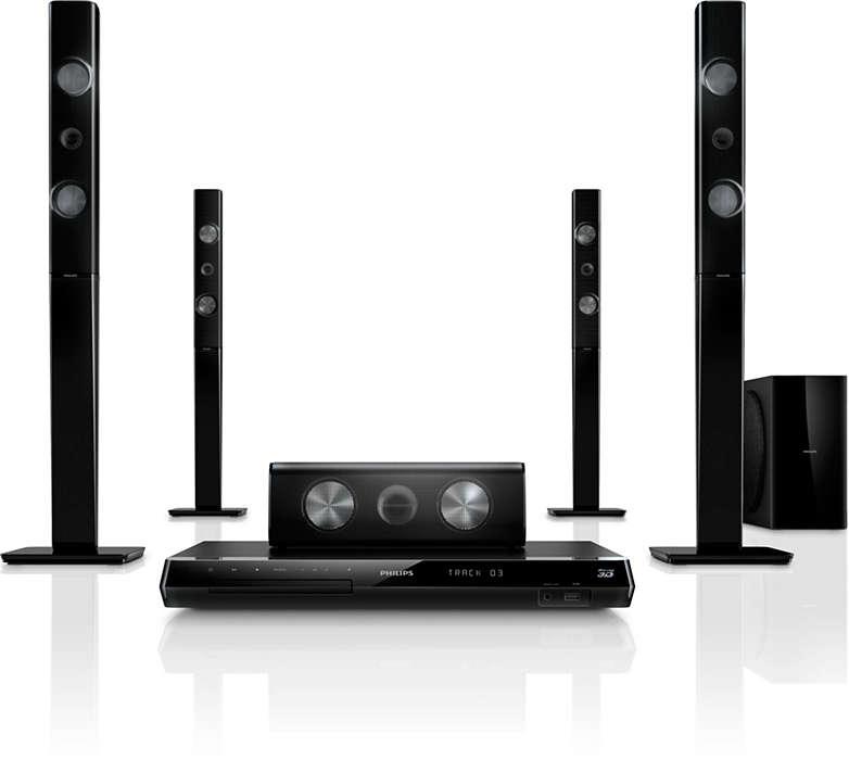 Få en kraftig hjemmekinoopplevelse med 3D-vinklede høyttalere