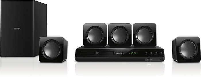 Som surround de cinema potente de 300W