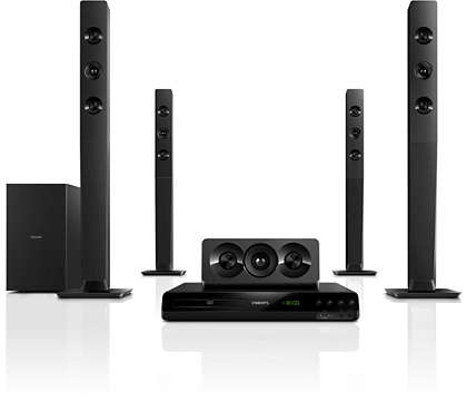 Powerful cinematic surround sound with deep sound Philips home theatre 5.1