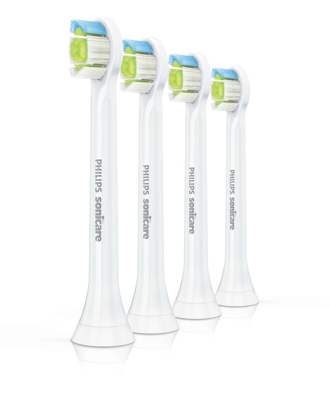 Effektiv tandbørstning.* Hvidere tænder.