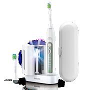 Philips Sonicare FlexCare+ Elektrische Schallzahnbürste HX6972/03 5Putzprogramme, 2Bürstenköpfe, UV-Reinigungsstation für Bürstenköpfe