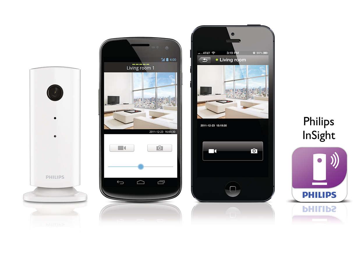 Bevaka hemmet via en smarttelefon/surfplatta