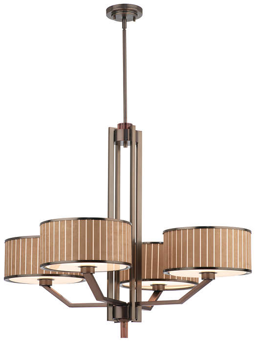 Haberdasher 4-light Chandelier, Oiled Bronze