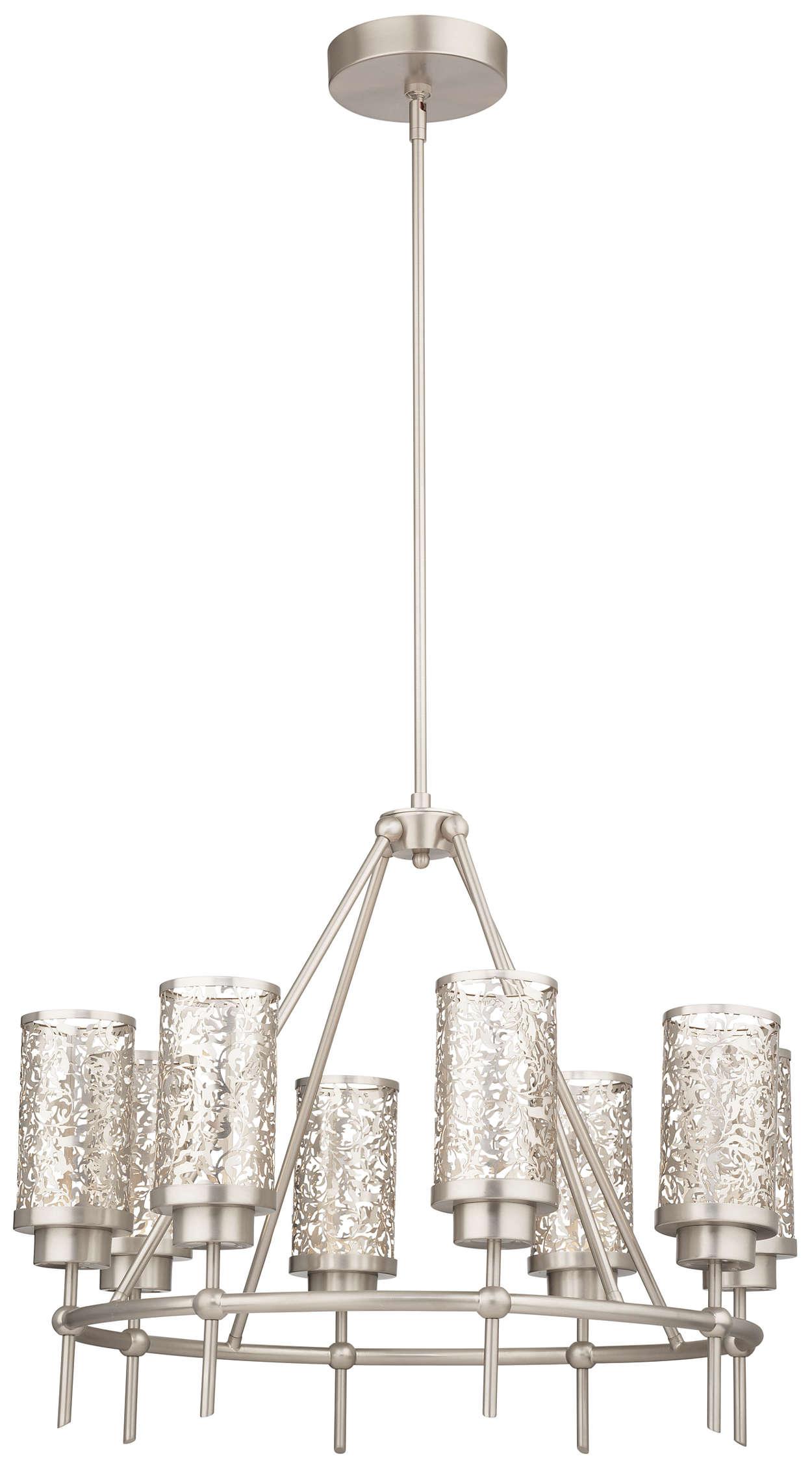 Brocade 8-light LED Chandelier, Brushed Nickel