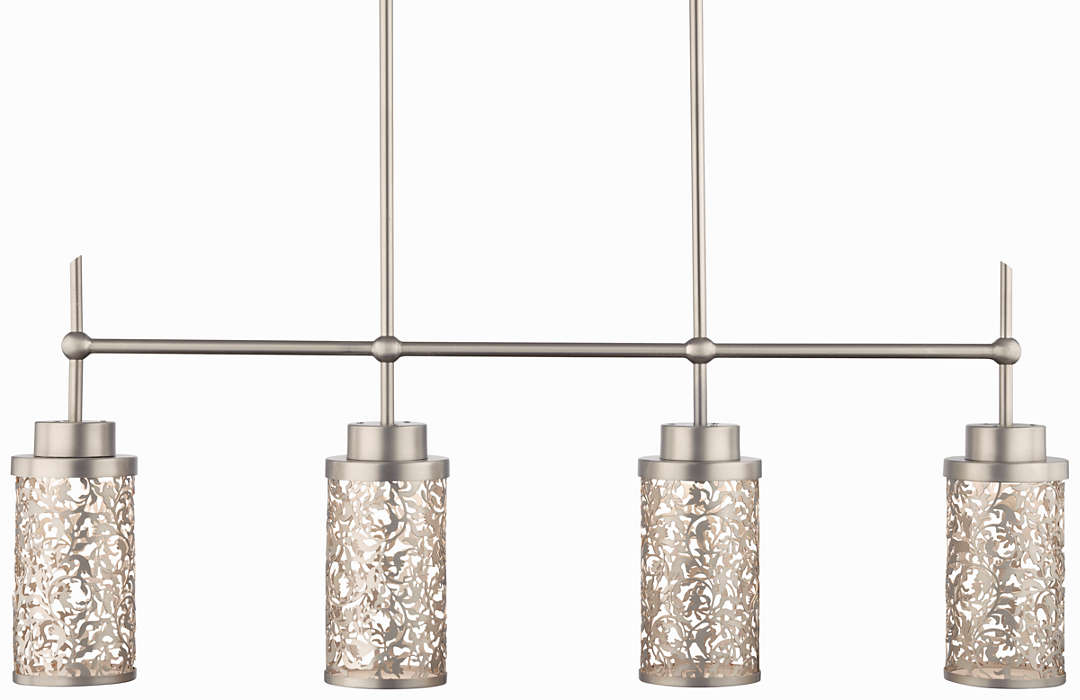 Brocade 4-light LED Pendant, Brushed Nickel finish