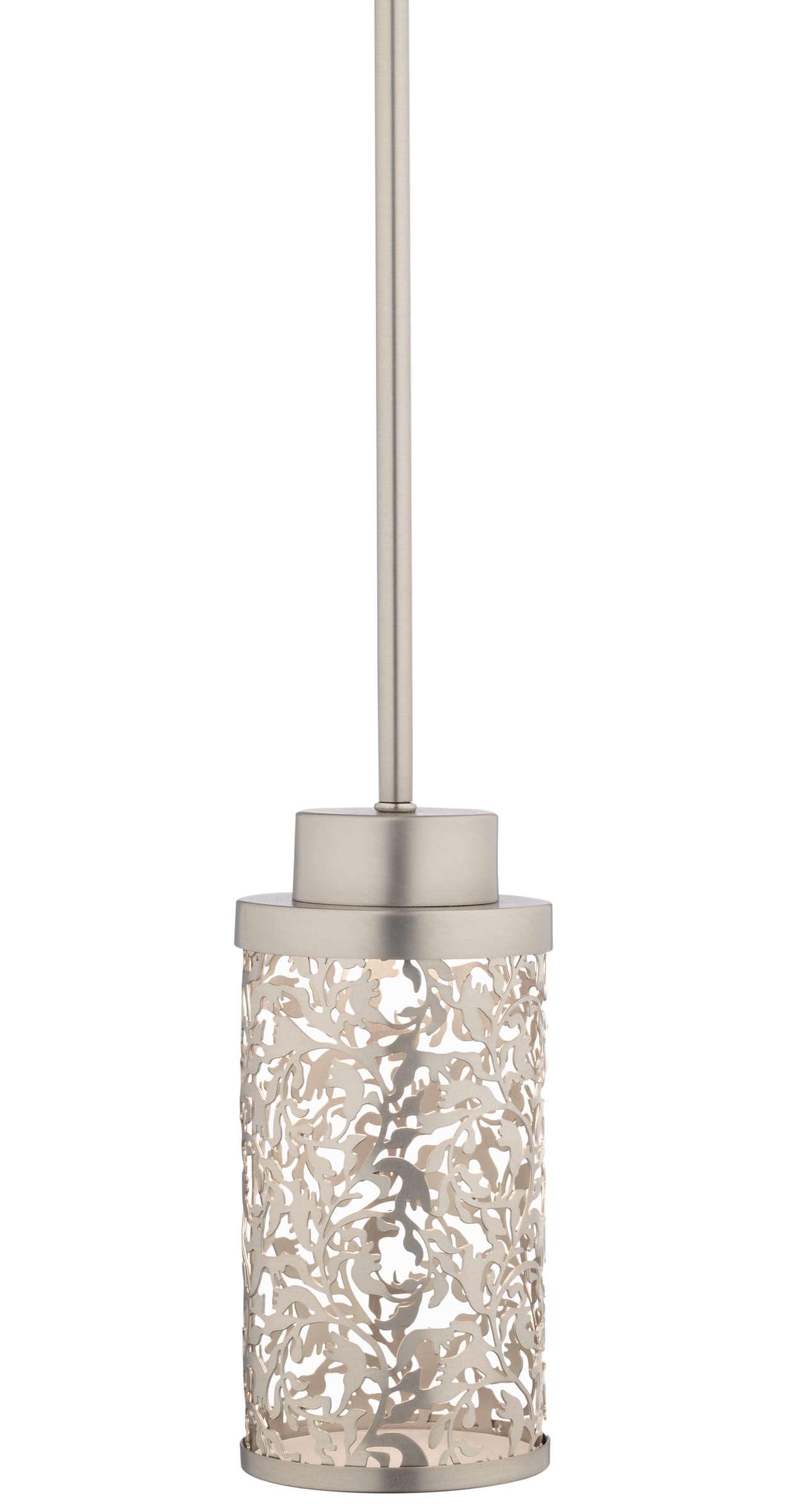 Brocade 1-light LED Pendant, Brushed Nickel finish