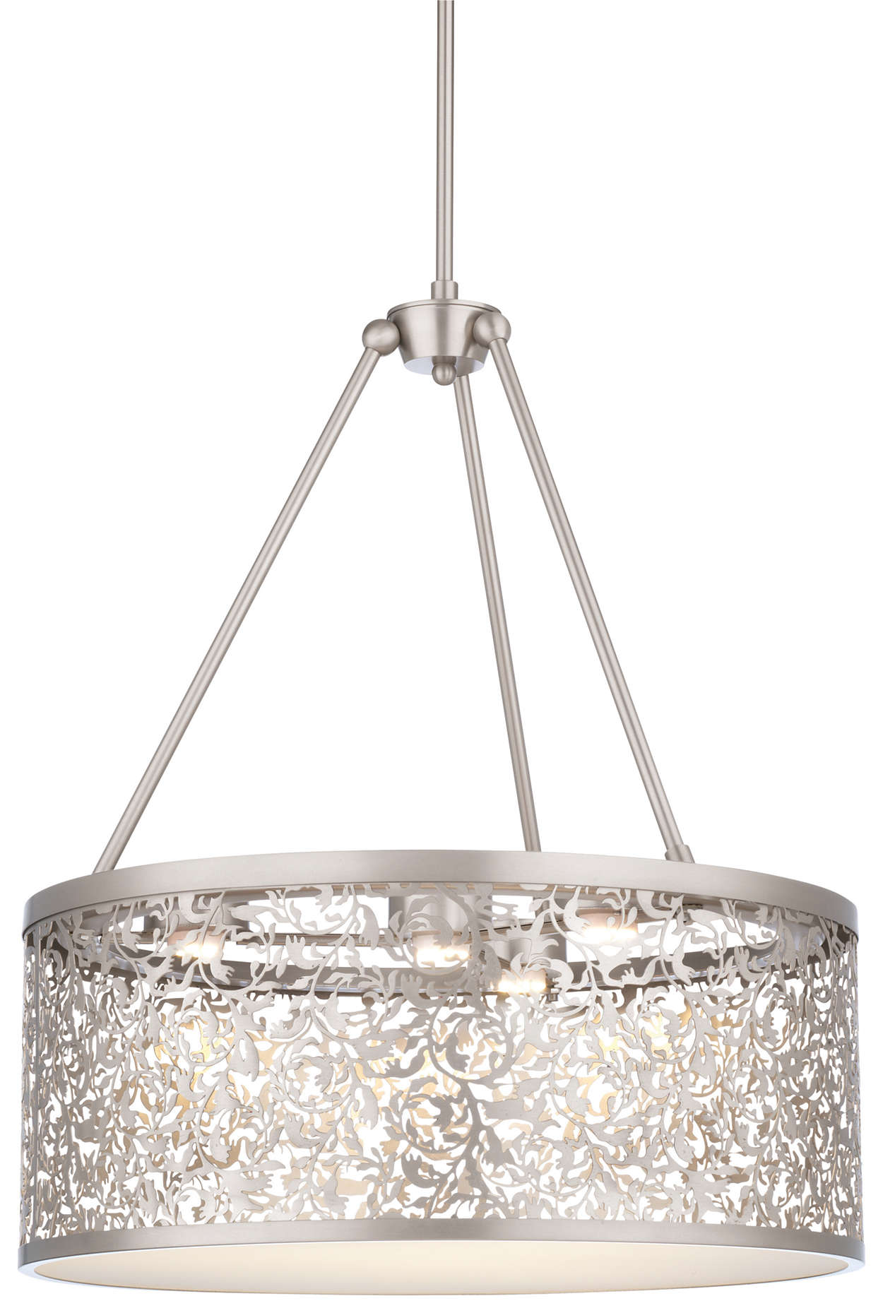 Brocade 3-light LED Pendant, Brushed Nickel finish
