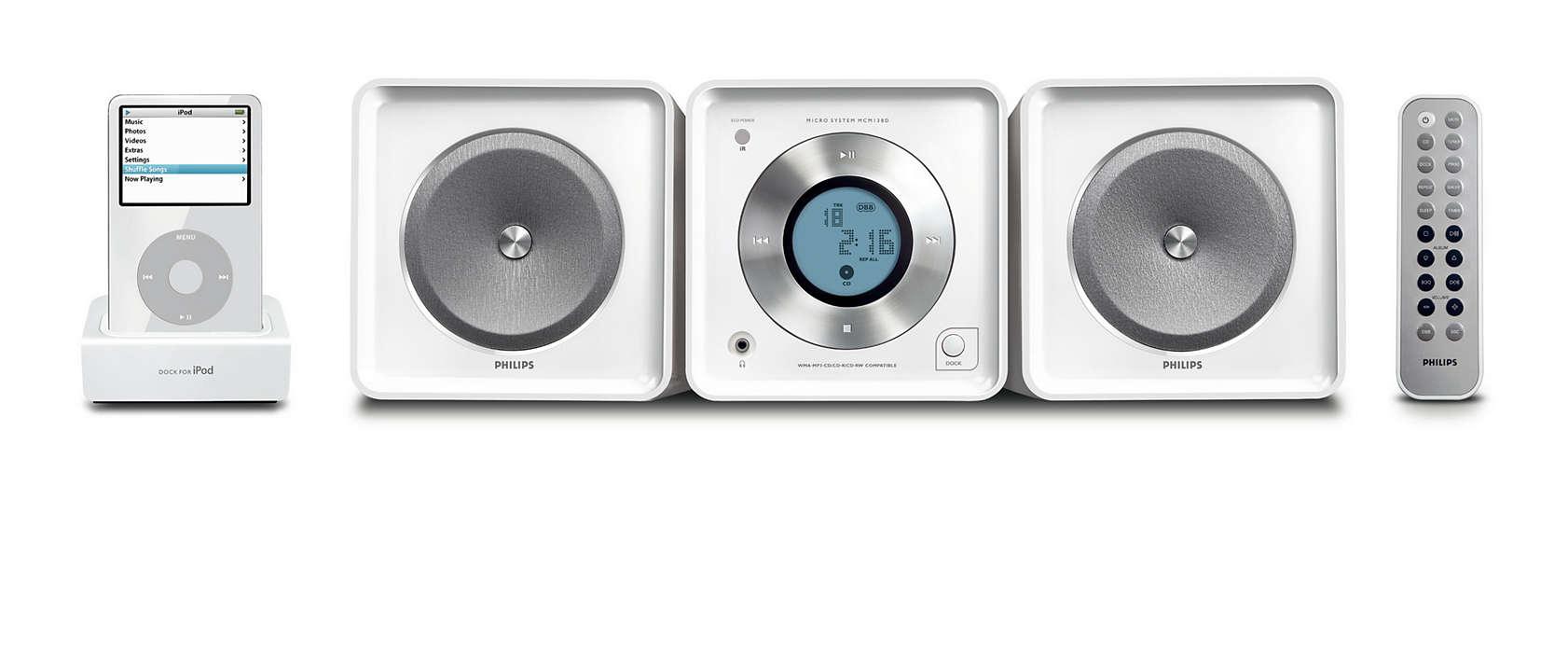 Възпроизвежда и зарежда вашия iPod