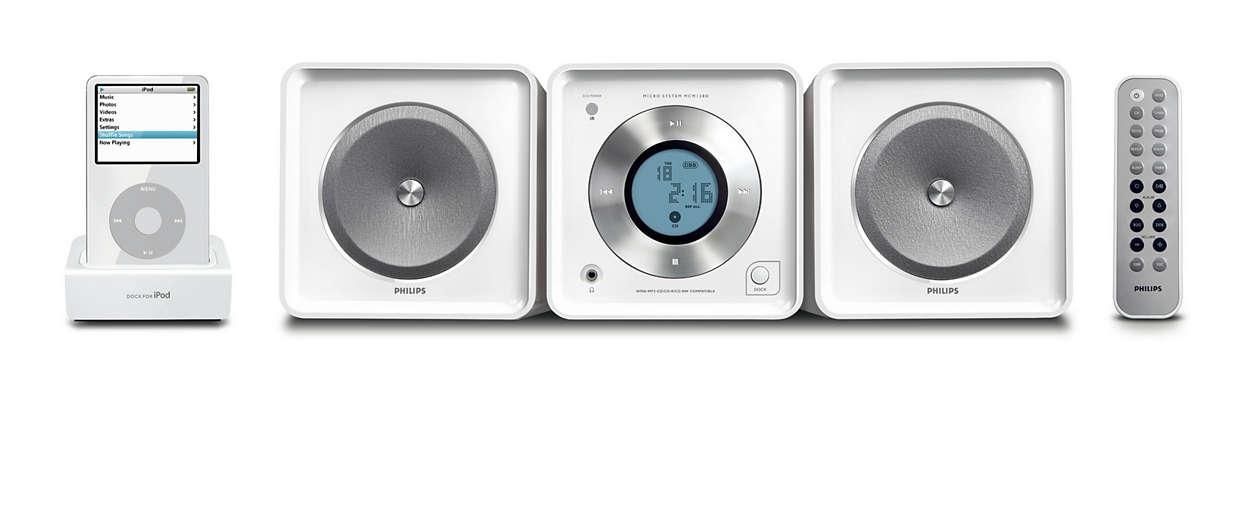 Odtwarza i ładuje odtwarzacz iPod