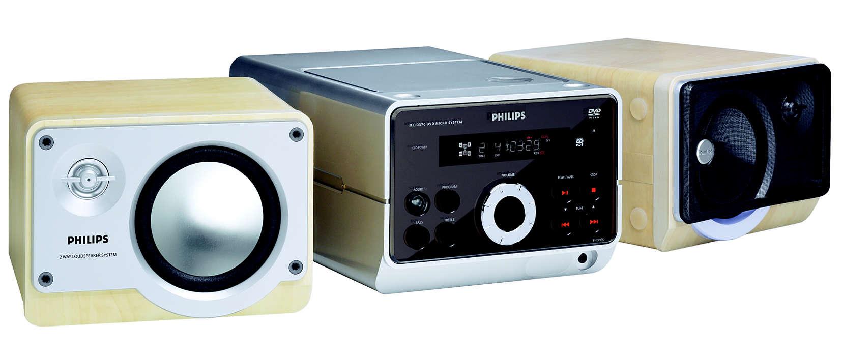 Reprodução de DVD, VCD e CD MP3