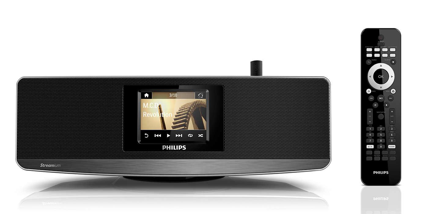 Transmita música do PC/MAC e da Internet – sem fios
