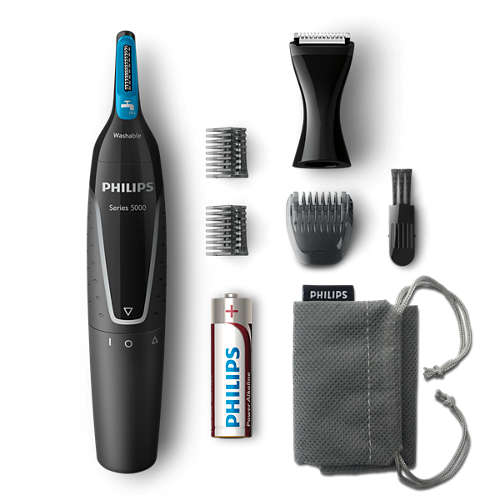 Nosetrimmer series 5000 Gentle nose, neck and sideburns trimmer
