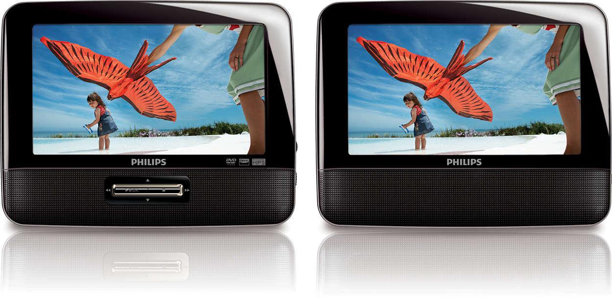 lecteur dvd portable avec double cran pd7022 12 philips. Black Bedroom Furniture Sets. Home Design Ideas