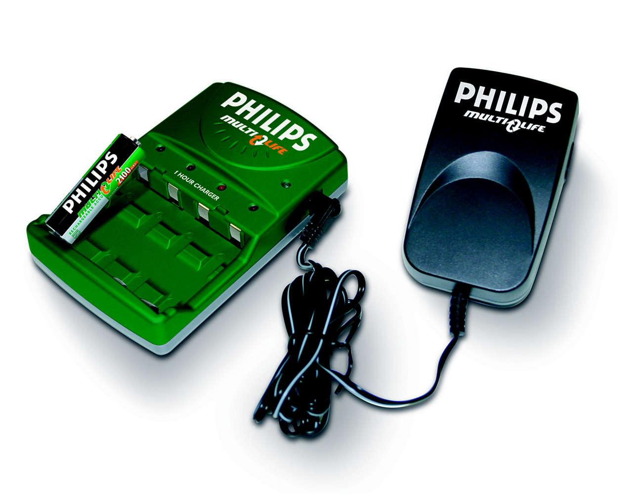 Oplad et til fire AA-batterier fuldt på op til 45 minutter