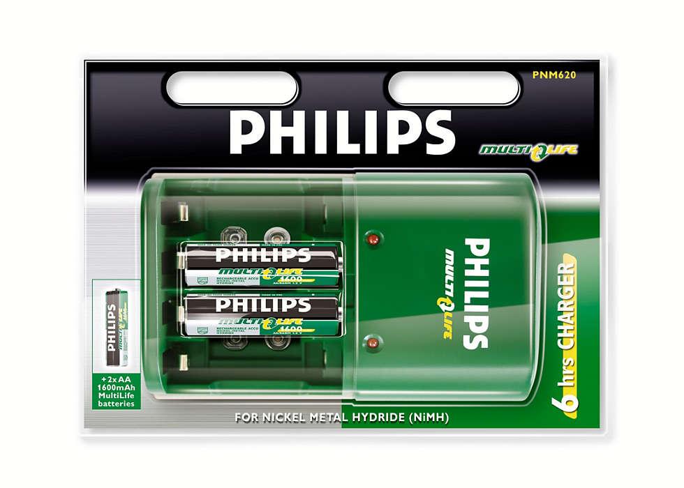 Oplad dine batterier fuldt på op til 5 timer