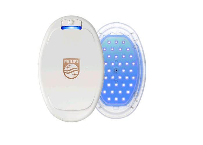 Terapia niebieskim światłem LED.