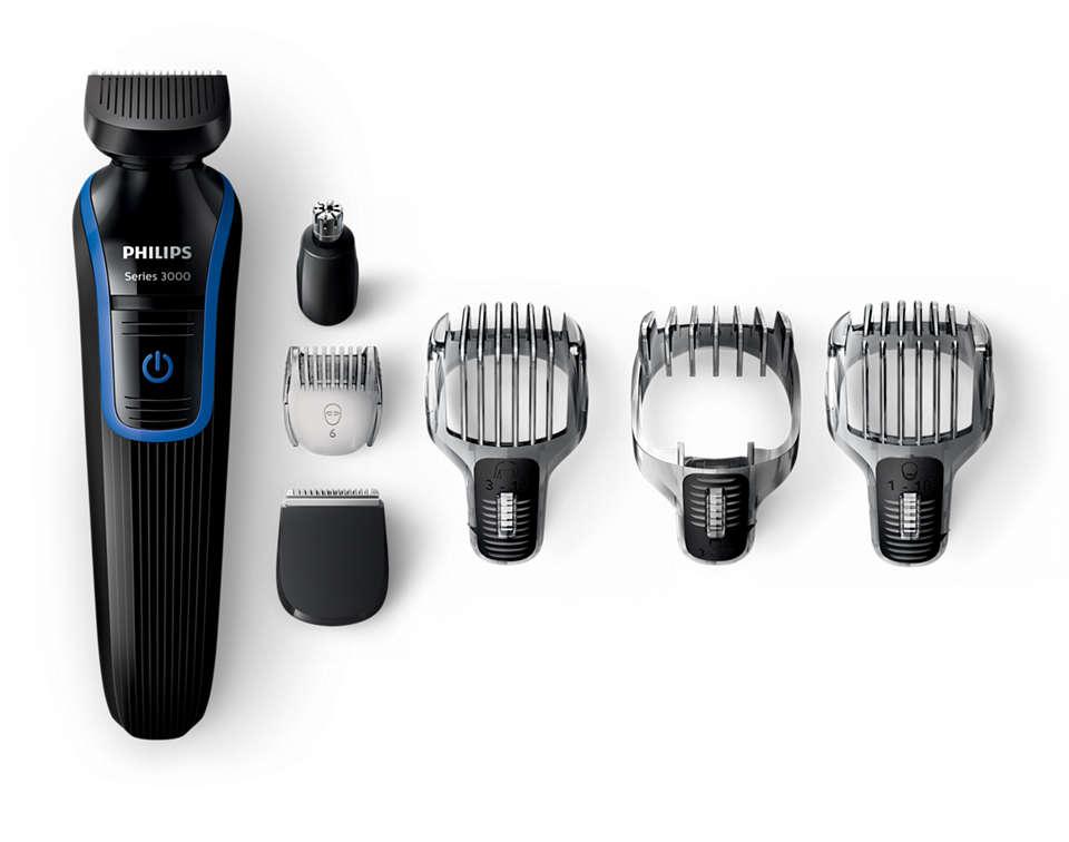 Recortador de barba, pelo y vello corporal todo en uno
