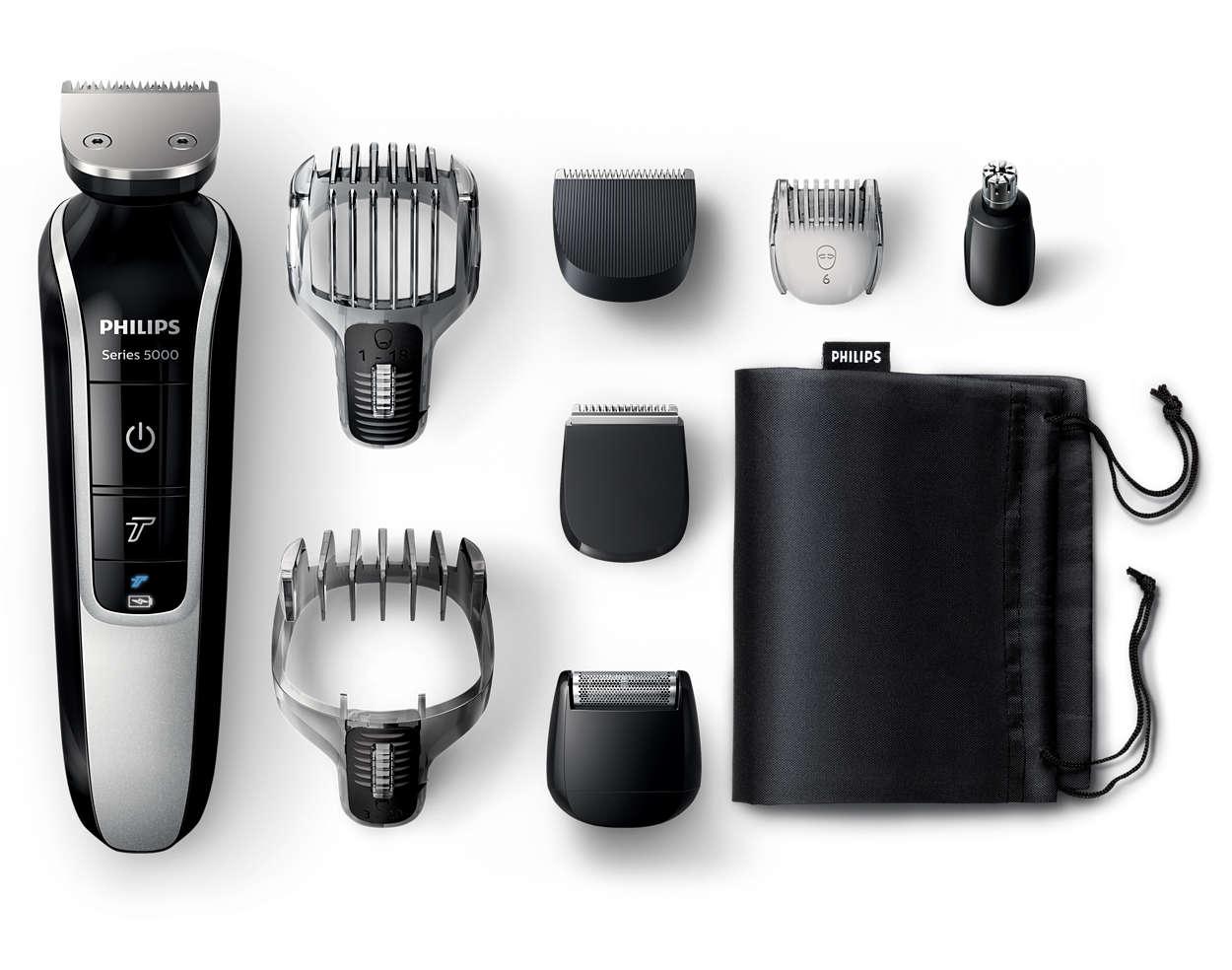 All-in-one-trimmeri parran ja hiusten viimeistelyyn