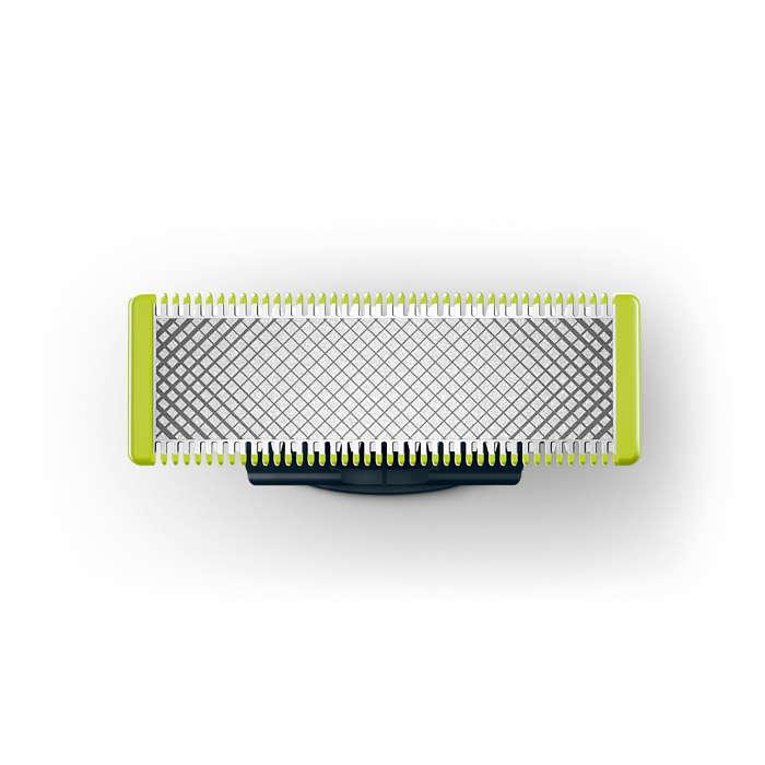 OneBlade apara, contorna e barbeia pêlos de todo o comprimento