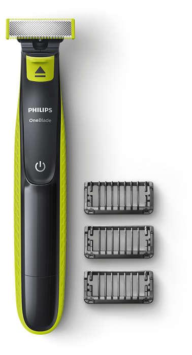 OneBlade przycina, nadaje kształt i goli włosy o każdej długości