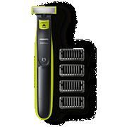 Philips OneBlade Gesicht QP2520/61 Trimmen, Stylen, Rasieren, für jede Haarlänge, 4aufsteckbare Trimmeraufsätze, wiederaufladbar, nass oder trocken