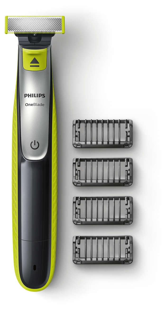 OneBlade przycina, nadaje kształt i goli zarost o każdej długości