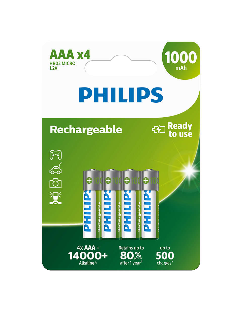 Piles rechargeables prêtes à l'emploi