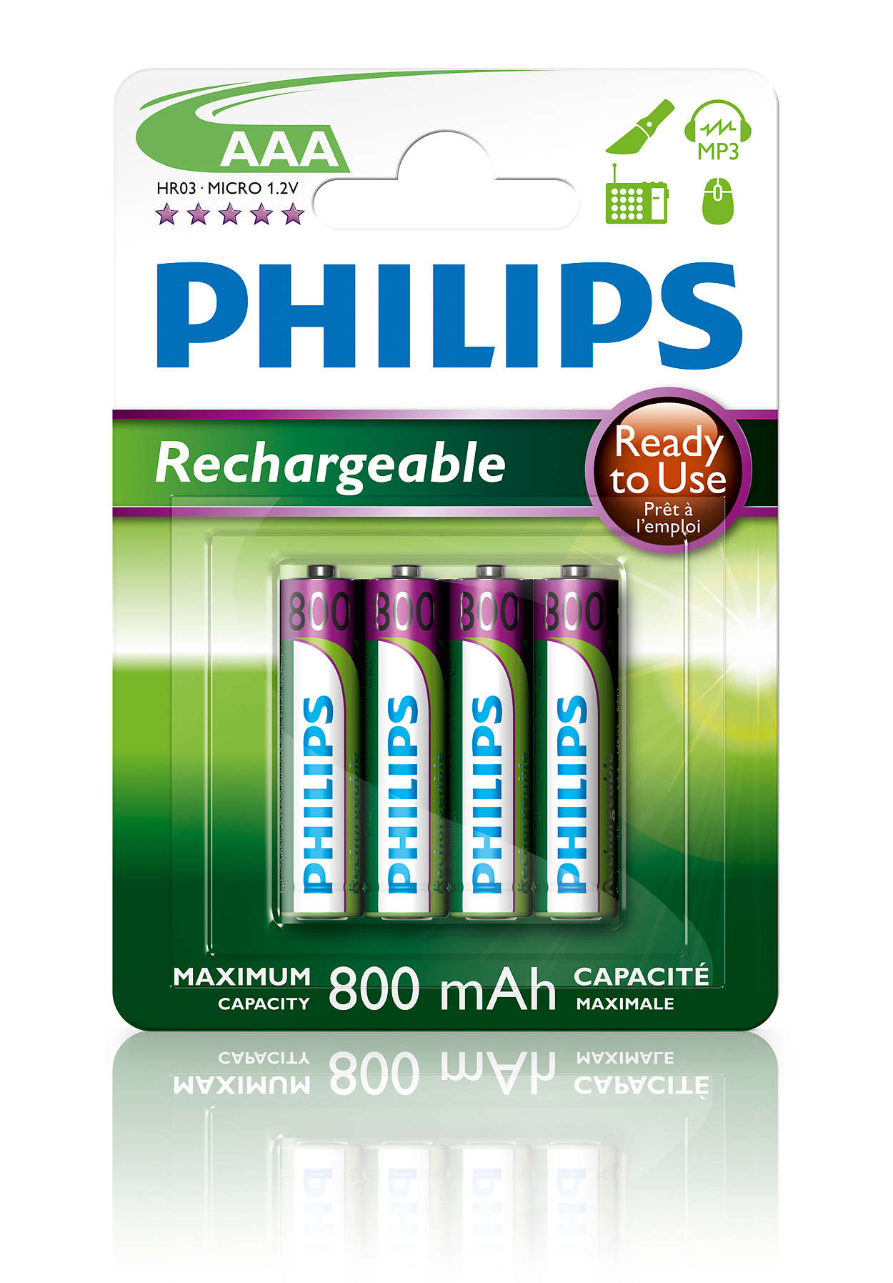 multilife pile rechargeable r03b4rtu8 10 philips. Black Bedroom Furniture Sets. Home Design Ideas