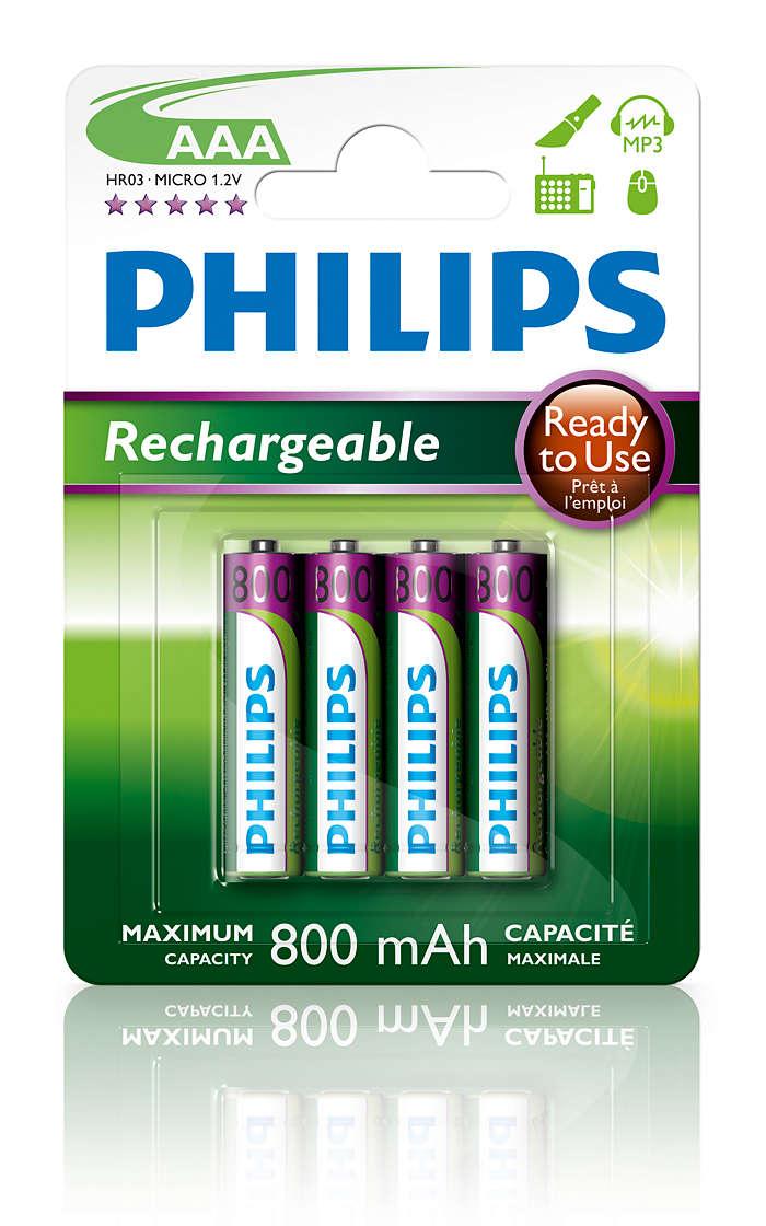 Batterie ricaricabili pronte per l'uso