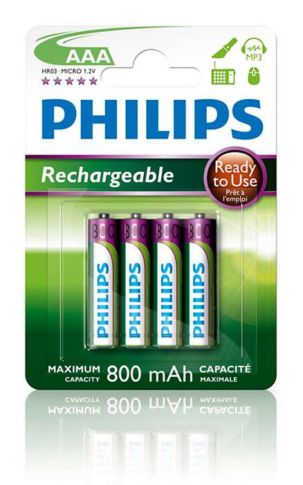 Parengtos naudoti įkraunamos baterijos