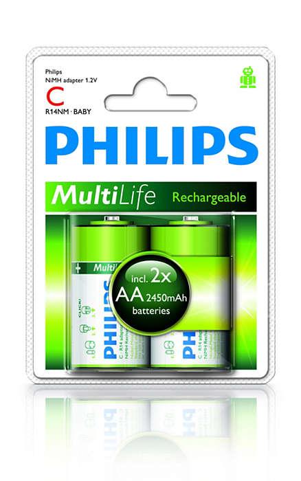 Pakeiskite AA tipo baterijas į C dydžio baterijas