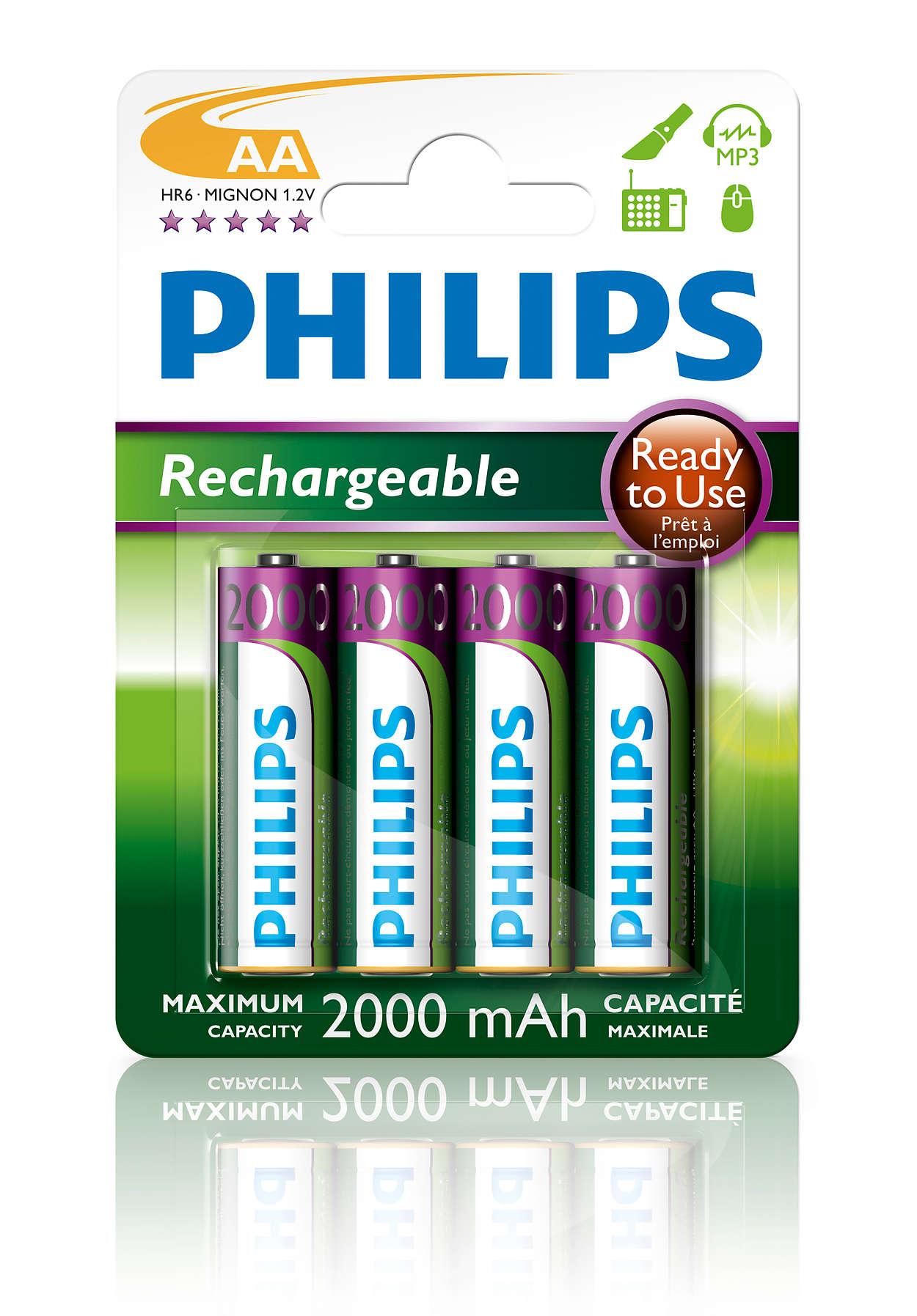 Oppladbare batterier, klare til bruk