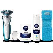 Philips Shaver series 7000 Rasoir électrique 100% étanche S7311/66 Anneaux SkinGlide, lames GentlePrecisionPRO, tondeuse de précision SmartClick, gel de rasage et baume après-rasage