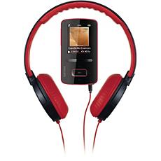 SA3VBE04RH/94  MP4 player with DJ headphones