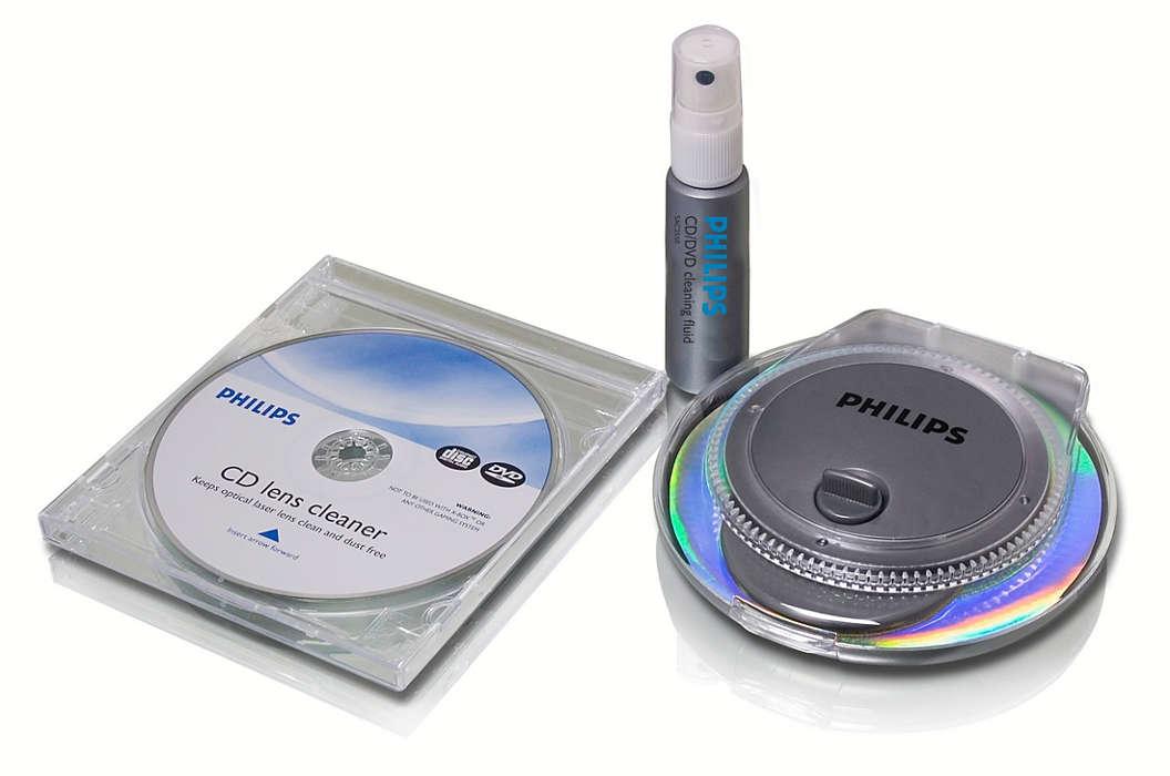 Allt du behöver för att rengöra CD-/DVD-skivor