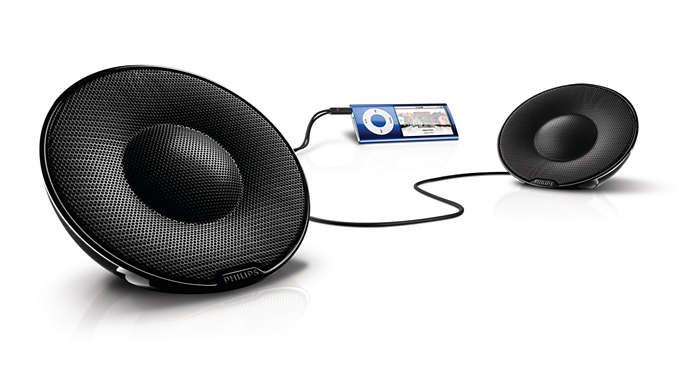 Äkta, bärbart stereoljud