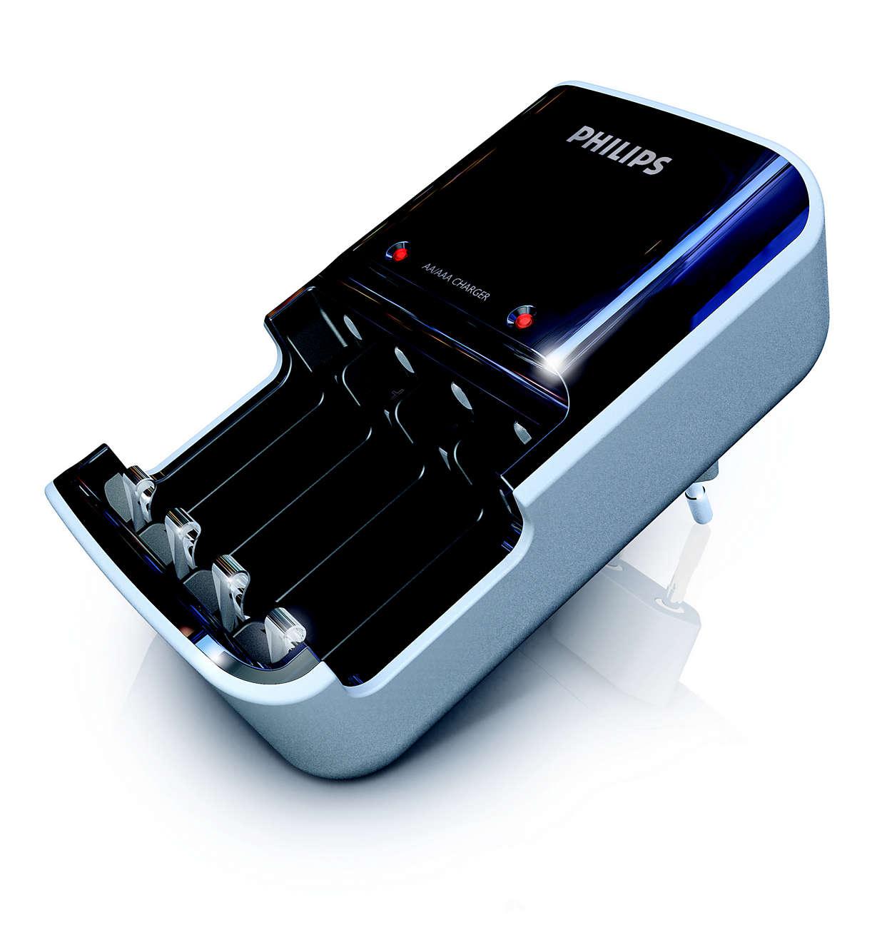 Laadt twee of vier AAA- of AA-batterijen gelijktijdig op