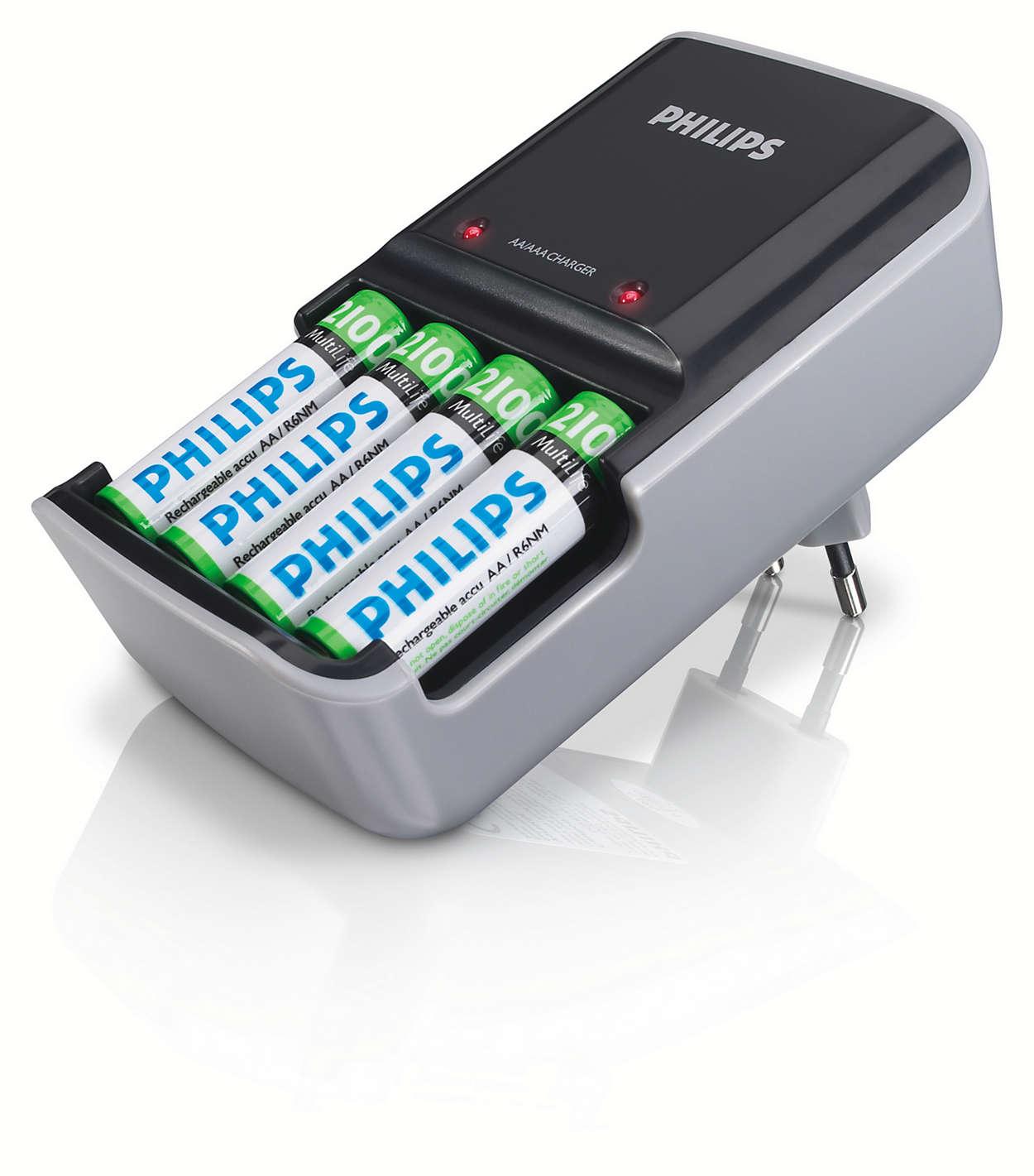 Jednoczesne ładowanie dwóch do czterech akumulatorów AAA i AA