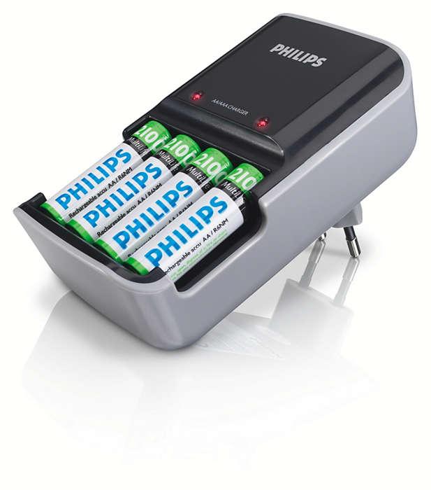 Poate încărca 2 sau 4 baterii AAA sau AA simultan