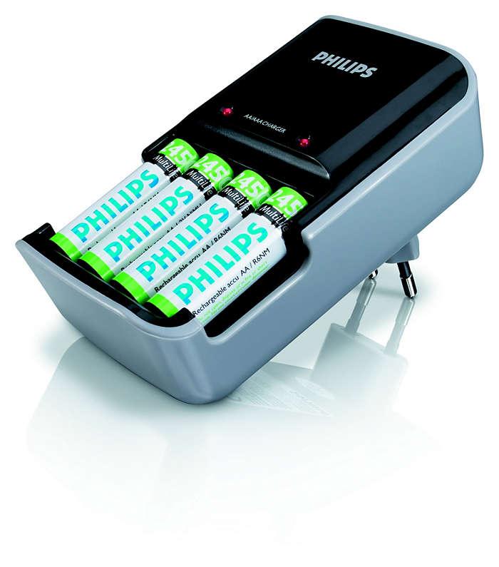 Зарежда наведнъж две или четири батерии тип AAA или AA