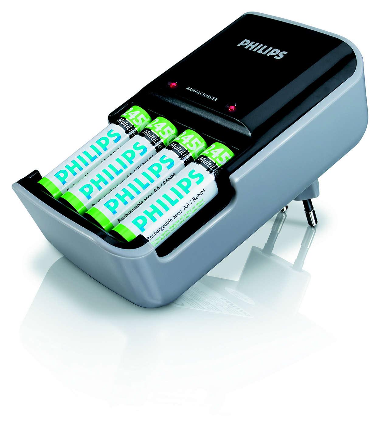Oplader to eller fire AAA- eller AA-batterier samtidigt