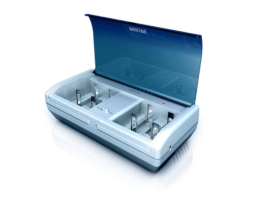 Kan oplade AAA-, AA-, 9 V-, C- og D-batterier