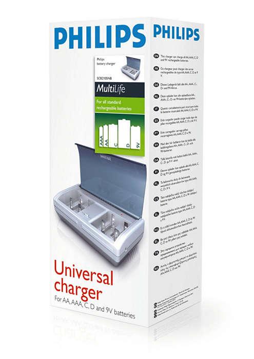 Laadt AAA-, AA-, C- en D-batterijen en batterijen van 9 V op