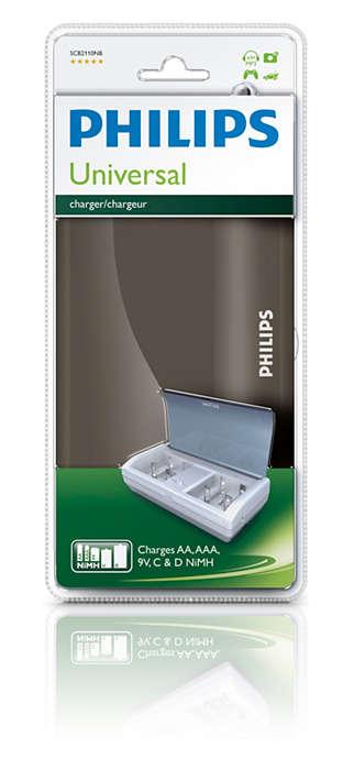Geschikt voor AAA-, AA-, C-, D- en 9 V-batterijen