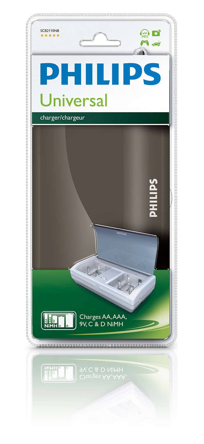 Ladda AAA-, AA-, C-, D- och 9V-batterier