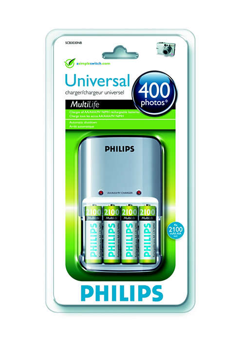 Φορτίζει όλες τις επαναφορτιζόμενες μπαταρίες NiMH AA/AAA/9V
