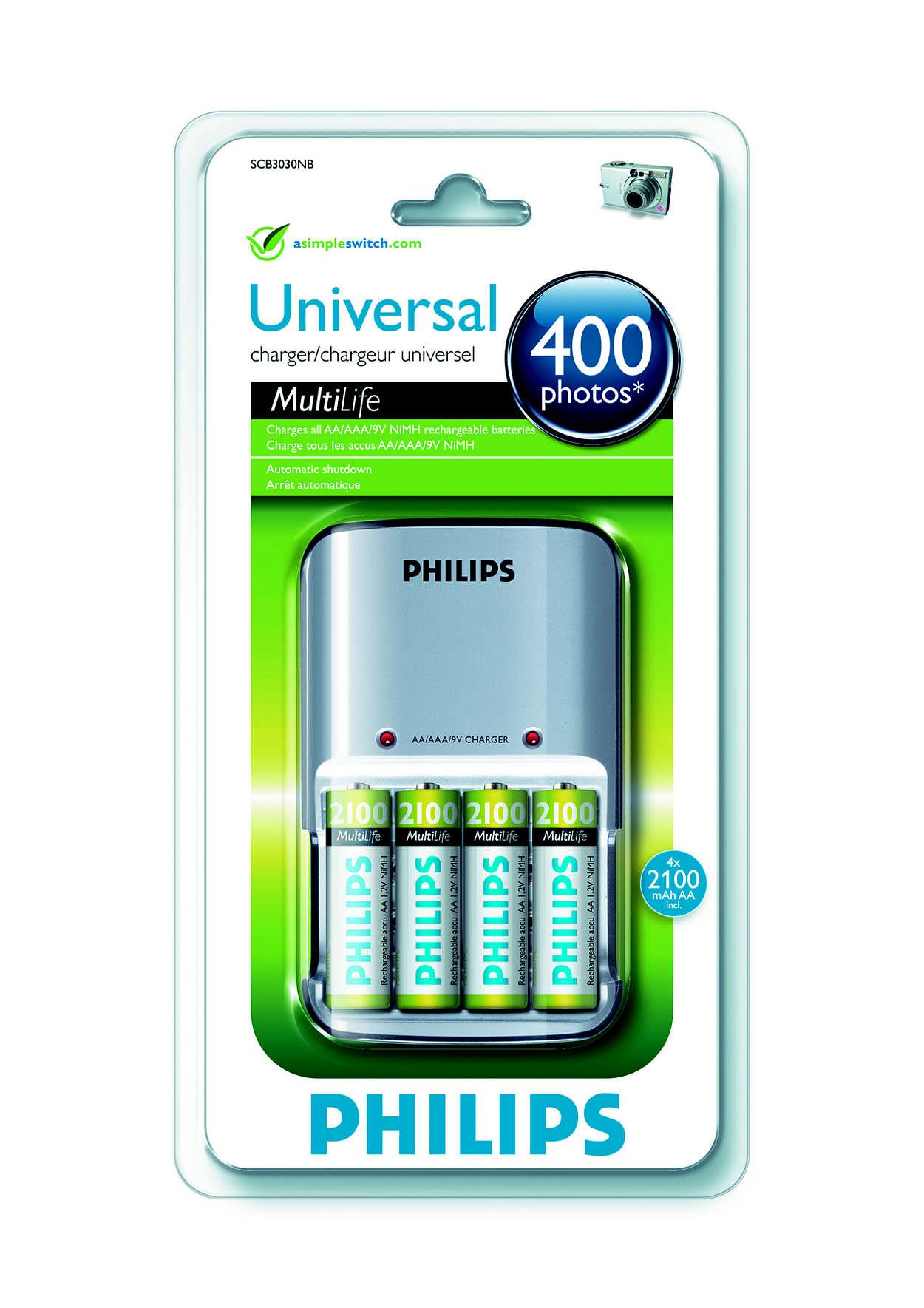 Įkrauna visas AA/AAA/9 V NiMH įkraunamas baterijas