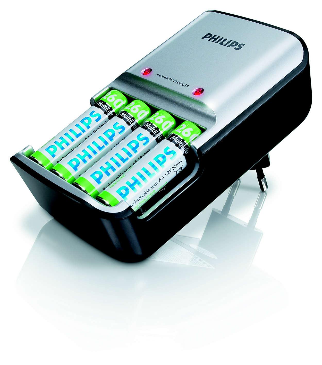 Ricarica completamente le tue batterie in massimo 5 ore
