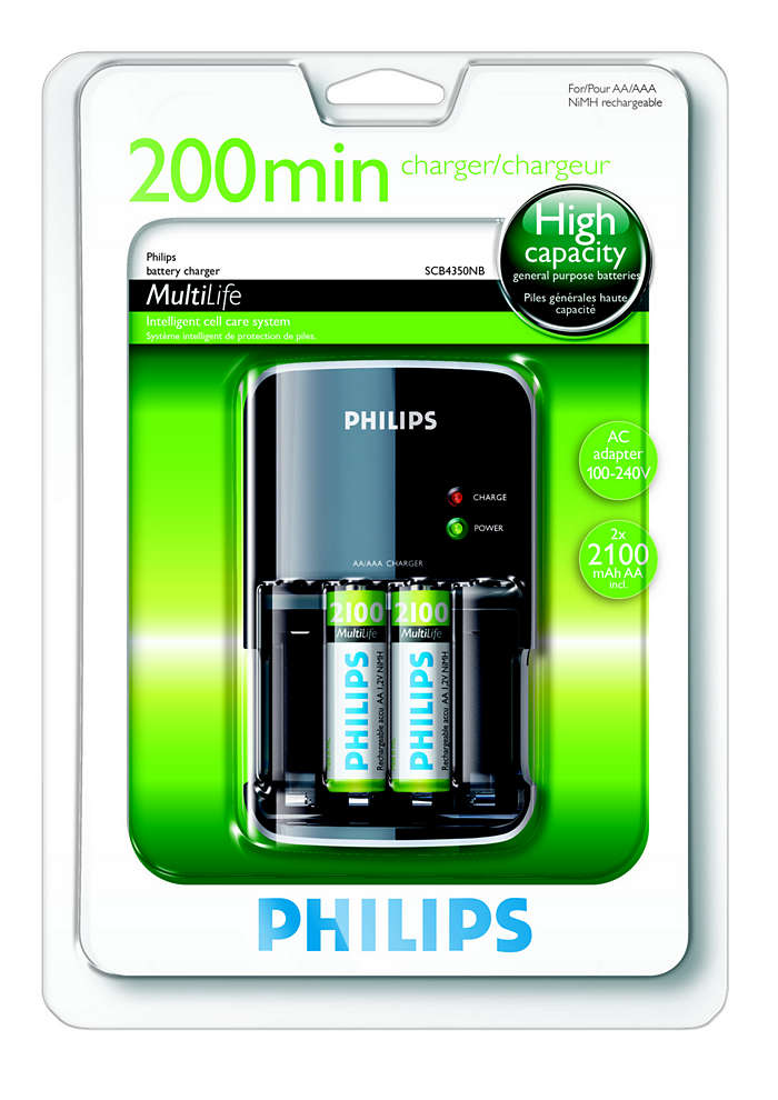 Laadt uw batterijen in maximaal 200 minuten volledig op