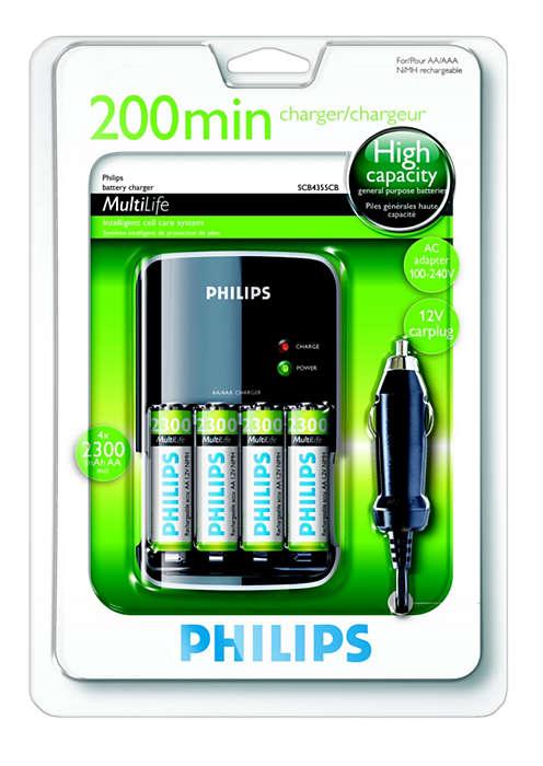 Oplad dine batterier helt på op til 200 minutter